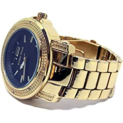 Techno Trend Gold Plated Iced Out Hex Design Faux Diamond Hiphop Mens Watch