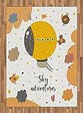 Zone de dessin animé Tapis par Lunarable, Sky Aventures avec Zeppelin Hover avec oiseaux en journée Pluvieuse Baby Shower illustrations, plat tissé Accent Tapis pour le salon salle à manger Chambre à coucher, Jaune, Saumon, Coton mélangé, Multicolore 1, 5.2' by 7.5' ft