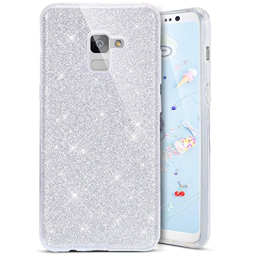 Coque Galaxy A8 2018, Coque Galaxy A8 2018 Silicone Paillette, SainCat Ultra Slim Bling Bling Silicone Case pour Samsung Galaxy A8 2018, 3 in 1 Brillante Gel Silicone Glitter Soft Gel TPU Cover Anti-Scratch Silicone Case, Coque Souple Ultra Mince Housse Silicone Ultra Thin Shockproof Shell Ultra Slim Bumper Femme Case Skin Étui Case Coque Anti Choc Housse Bumper Cover pour Samsung Galaxy A8 2018-Argent