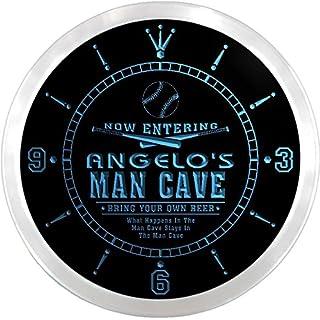 ncqb0324-b ANGELO'S Baseball Man Cave Bar Beer Den LED Neon Sign Wall Clock
