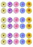 Gerbera-/Blumen-Kuchendekoration, essbar, Oblatenpapier, Pastell-Farben, 30 Stück