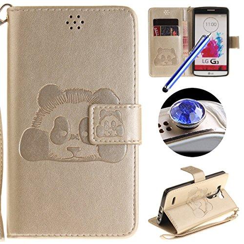 [ LG G3 ] Cuir Coque,LG G3 Housse de téléphone en Cuir, Etsue Retro Panda Motif Portefeuille en Cuir Flip Couverture de Case avec Lanière et Carte de Visite Dossier Fonction pour LG G3 + Cadeaux Gratuit + 1 x Bleu stylet + 1 x Bling poussière plug (couleurs aléatoires)-Dorée