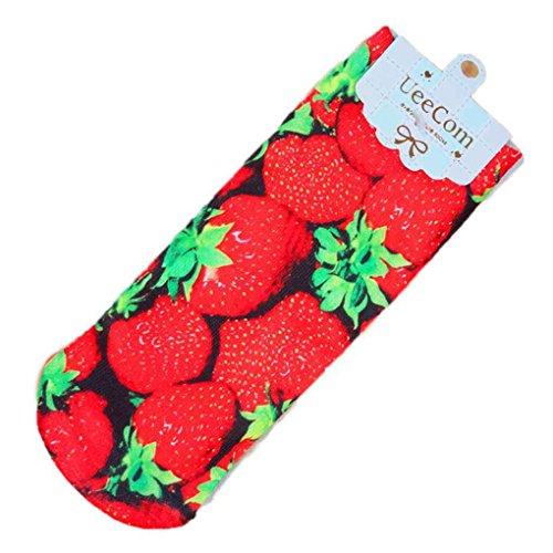 Chunyang Frauen Mädchen 3D Harajuku Baumwolle Socke Süßigkeiten Früchte Drucken Söckchen Mädchen Kurze Socken