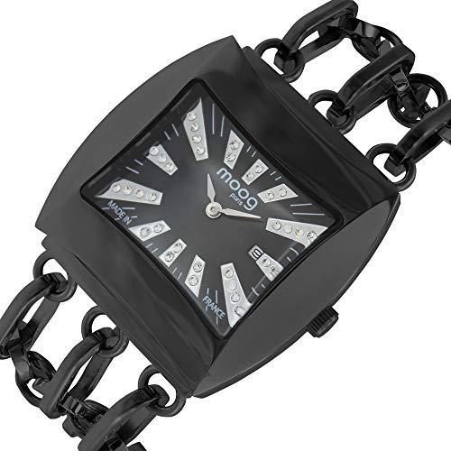 Moog Paris Sunrise Montre Femme avec Cadran Noir, Eléments Swarovski, Bracelet Noir en Acier Inoxydable - M45214-004