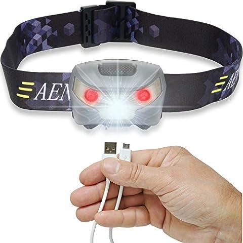 USB Wiederaufladbare LED Stirnlampe Kopflampe, Sehr hell, wasserdicht, leicht und bequem, Perfekt fürs Joggen, Gehen, Campen, Lesen, Laufen, für Kinder und mehr, inklusive USB (Lr1 Akku)