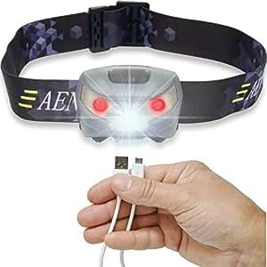Torcia Lampada Frontale LED CREE, Ricaricabile Tramite USB, Estremamente Luminosa, Leggera, Comoda e Facile da Usare, Perfetta per Correre, Camminare, Leggere, fare Campeggio o Arrampicata, per Bambini, per il Fai da Te e Molto Altro
