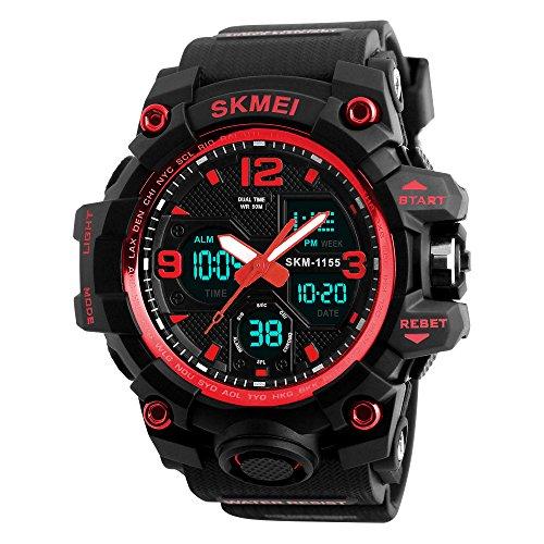 TONSHEN Männer LED Digital Uhren 50M Wasserdicht Rot Plastik Lünette Silikon Band Alarm Analog Quarz Armbanduhr Outdoor Militär Sportuhr ()