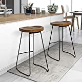 Yaheetech 2 x Vintage Rustic Kitchen Pub Wooden Bar Stools Set with Black Metal Frame and Solid Wood Seat Industrial Style