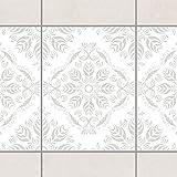 Fliesen Bordüre - Rosamunde White Light Grey 20cm x 15cm, Setgröße:6teilig