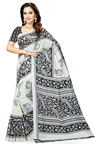 Rani Saahiba Bhagalpuri Printed Art Silk Saree ( SKR3431_White - Black )