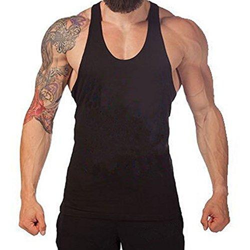 Uomo Stringer Fitness Singlet Maglia manica lunga Yying Bodybuilding Tank Top Nero