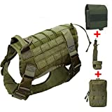 QZY Große Hundehunde Tactical Vest Training Jagd Molle 1000D Nylon Military Waterproof Vest mit 3 Storage Bag-Halb Body,Green+3Bag,L