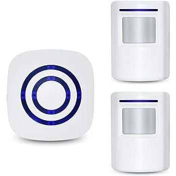 BeiLan Kit elettronico per campanello senza fili con 1 ricevitore plug-in e 2 sensori PIR Motion Detector 3 Livelli di volume e 38 suonerie intelligenti Suoneria di sicurezza per campanello elettrico