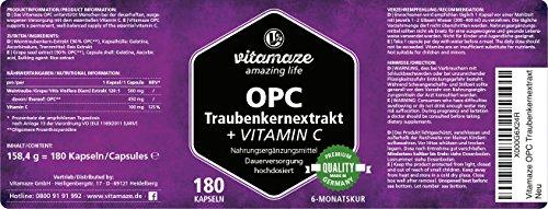 OPC Traubenkernextrakt Kapseln, zertifiziert, hochdosiert: 450mg reines OPC, 180 Kapseln für 6 Monate, OHNE Magnesiumstearat, Qualitätsprodukt-Made-in-Germany und 30 Tage kostenlose Rücknahme - 7