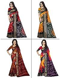 1 Stop Fashion Women's Bhagalpuri Digital Printed Saree Combo With Blouse (Set Of 4)