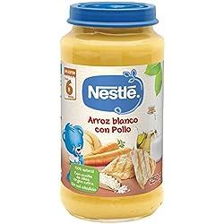 Nestlé Purés - Tarrito de puré de verduras y carne, variedad Arroz blanco con Pollo - Para bebés a partir de 6 meses - Paquete de 6 Tarritos de 250g