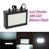 SOLMORE 180 LED Luci Strobo Lampada Flash Bagliore Bianco Illuminazione Shell Nero Lega di Alluminio Palco KTV Bar Discoteca Club con Manuale Inglese