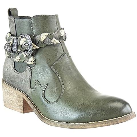 Angkorly - Chaussure Mode Bottine chelsea boots cavalier santiags - cowboy femme lanière tréssé boucle Talon bloc 5 CM - Vert - F1226 T 40