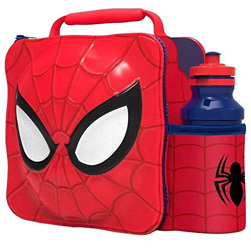 SPIDERMAN Kinder Kinder 3D Lunchbox Tasche Mit Sport Wasserflasche