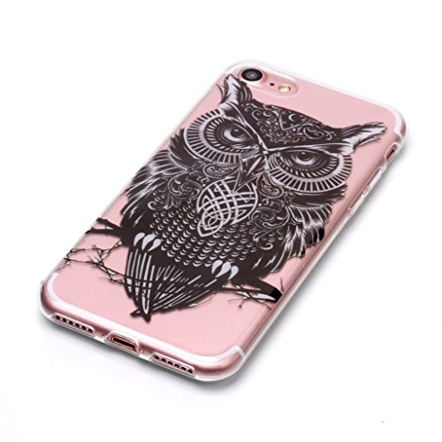 Per iPhone 8 / iPhone 7 Cover , YIGA nero fiore Cristallo Trasparente Silicone Morbido TPU Case Shell Caso Protezione Custodia per Apple iPhone 8 / iPhone 7 (4,7 pollici) XS73