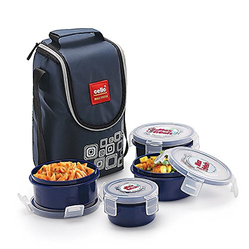 Cello Max Fresh Click PP Lunch Box, 4-Containers, Blue