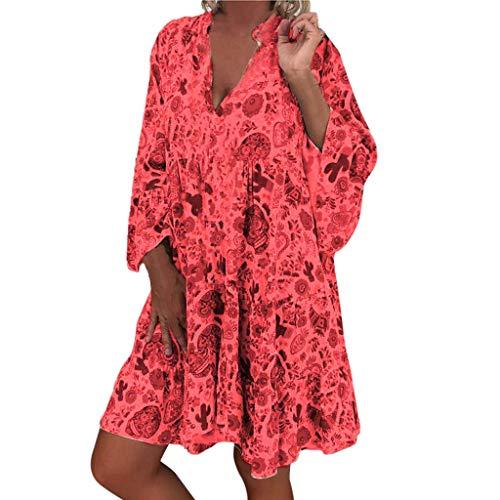 Küken Rock Kostüm - LOPILY Frauen Große Größen Blumenmuster Kleider Boho Stil Übergröße Sommerkleider Blumendruck Knielang Kleid Kurzarm Kleid Tunika Swing Kleid (Rot, 48)