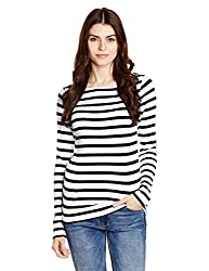 GAP Womens Plain T-Shirt (148854600011_90497467000_Black Stripe_S)