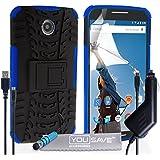 Yousave Accessories Silikon Combo-Ständer Schutzhülle mit Mini Eingabestift, Kfz-Ladegerät und Micro-USB-Kabel für Motorola Nexus 6–Blau/Schwarz