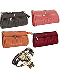 B2B Bags - Women Pu Leather Wallet Clutch Combo Of 4 (Multicolour), Top Ladies Purse Handbag And Clutch