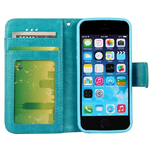 iPhone 5/5S Case, [Wallet Function] [Stand Feature] Vintage Crazy Horse Premium Leather Case, Flip Folio Book Cover with Magnetic Closure [Cash Pocket & 3 Credit Card Holders] (Rose) Blue