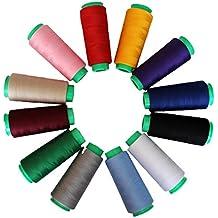 Filato /Poliestere filo - Rocchetti di filo 12 Pcs - fili di cotone in Colori assortiti - Filo per cucire da 16.459 m - Adatto per maglieria, cucito, punto croce, bustina di tè, ricamo, tessitura.