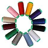 12 Overlock Polyester Nähmaschinen-Faden Kegel von Curtzy - Auswahl an Farbigen Garn-Rollen für Nähmaschinen Insgesamt 16.459,2 Meter - Ideal zum Nähen, Quilten oder Sticken