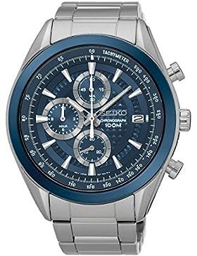 Seiko Herren-Armbanduhr Analog Quarz One Size, blau, silber