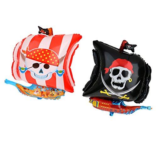 MagiDeal 2pcs / Set Folie Mylar Folienballon Luftballons, Helium Luftballons, Piraten (Piraten Folien Ballon)