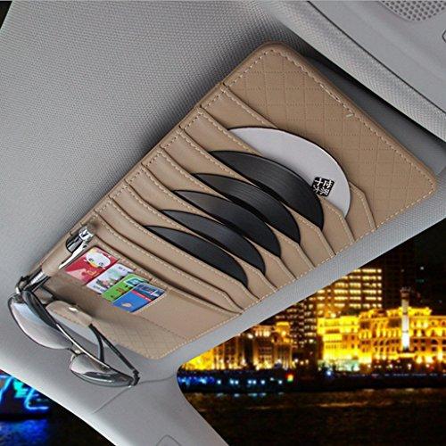 CareyNoce Auto Mehrzweck Sonnenblende Aufbewahrungstasche,CD-Halter,Brillenfassungen,Stifthalter,Karten-Tasche - (Elegantes Beige)