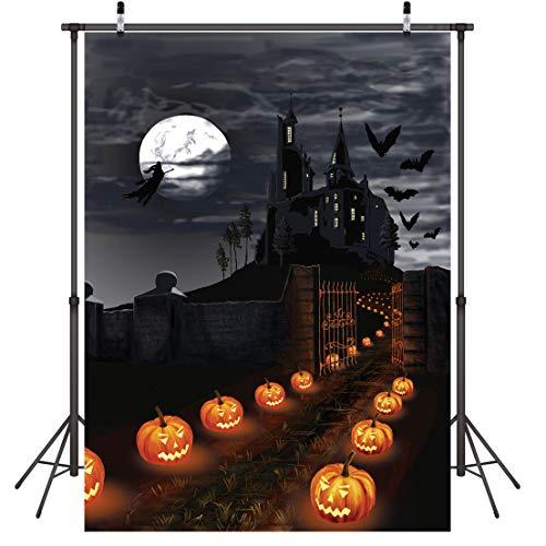 LYWYGG 5x7FT Halloween Karneval Feier Kürbis Laterne Road To Black Castle Halloween Horror Nacht Foto Studio Hintergrund zusammenklappbar CP-55