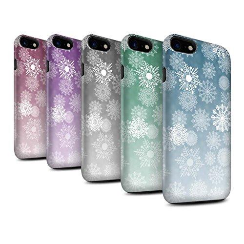 STUFF4 Matte Harten Stoßfest Hülle / Case für Apple iPhone 8 / Blau Muster / Schneeflocke Nebel Kollektion Pack 5pcs