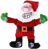 infactory Deko-Weihnachtsmänner: Singender & Tanzender Weihnachtsmann mit Saugnäpfen & Geräusch-Sensor (Weihnachtsmann mit Geräuschsensor)