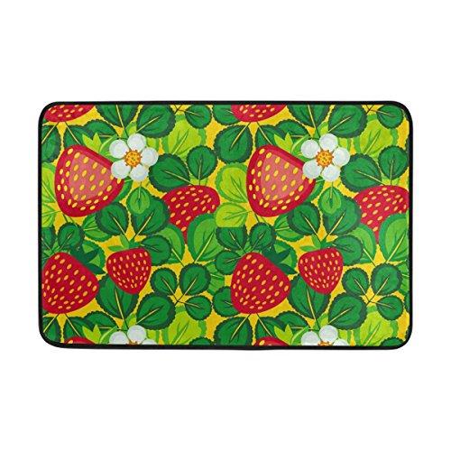jstel Blatt mit Erdbeeren-Fußmatte waschbar Garten Büro Fußmatte, Küche ESS-Living Badezimmer Pet Eintrag Teppiche mit Rutschfeste Unterseite 59,9x 39,9cm