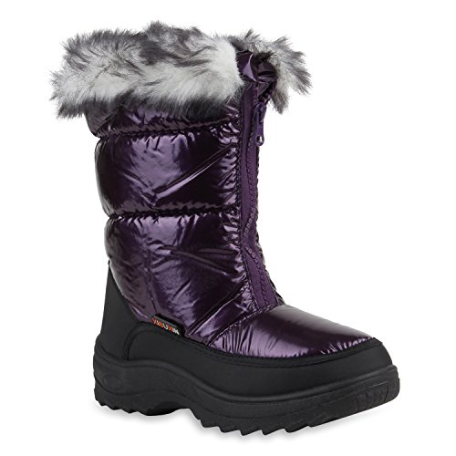 Warm Gefütterte Kinder Boots Snowboots Kunstfell Profilsohle Lila