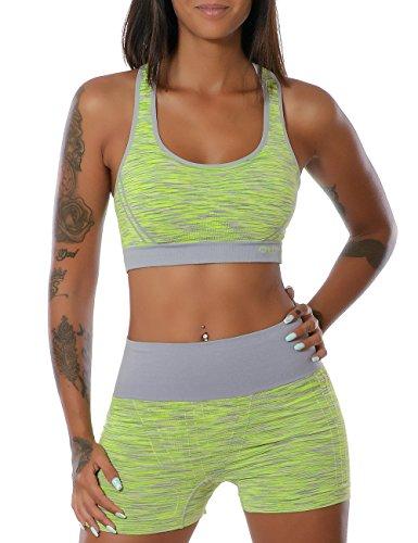 Damen Yoga Sport-Set Fitness Push-Up BH mit Hot-Pants No 13889 Gelb L/XL (Hot-yoga-pants)