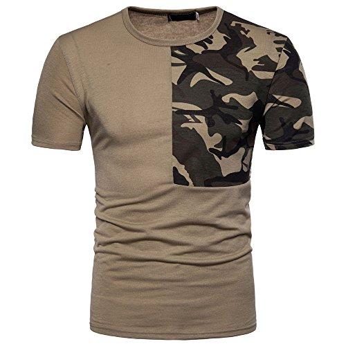 sunnymi  ® Herren Tops Lässige Tarnen Patchwork O Hals Pullover T-Shirt Top Bluse - Blatt Camouflage Königin