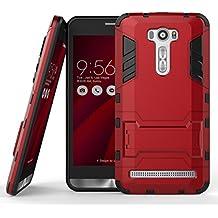 "WindCase Asus Zenfone 2 Laser ZE601KL Funda, Heavy Duty Rugged Dual Layer Armor Defensor Shockproof TPU +PC Híbrida Case con Soporte Carcasa para Asus Zenfone 2 Laser ZE601KL 6.0"" Rojo"