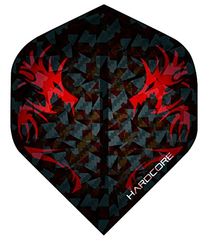 Hardcore 2D Holographic Dragon Extra Dicke Standard Dart Flights - 5 Sätze pro Packung (15 Flights insgesamt) & Red Dragon Checkout Card