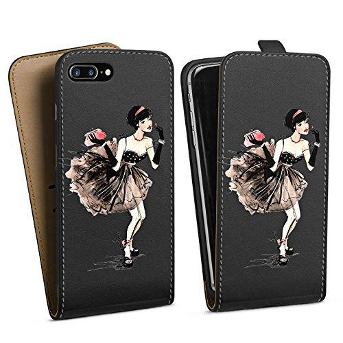 Apple iPhone 5 Silikon Hülle Case Schutzhülle Frau ohne Hintergrund Französisch Downflip Tasche schwarz
