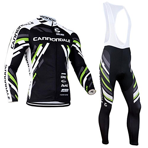 logas Herren Outdoor Bekleidung Langarm-Radtrikot Set Fahrrad Anzug Bike Jersey-Oberteil mit 3D Padded Bib Pants