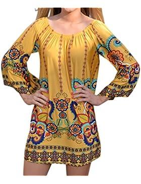 Honghu Donna Estate Casuale Print Manica Lunga Vestito Corto Camicette