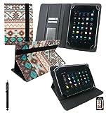 Emartbuy® AlpenTab Heidi 7 Zoll Tablet PC Universalbereich Aztec PU Leder Multi Winkel Folio Executive Case Cover Wallet Hülle Schutzhülle mit Kartensteckplätze + Schwarz Eingabestift