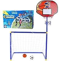 YAKOK - Juego de portería de fútbol para niños, 115 x 73,5 x 45,5 cm, para fútbol y Baloncesto, Color Brown, Blue, tamaño 115 * 73.5 * 45.5cm