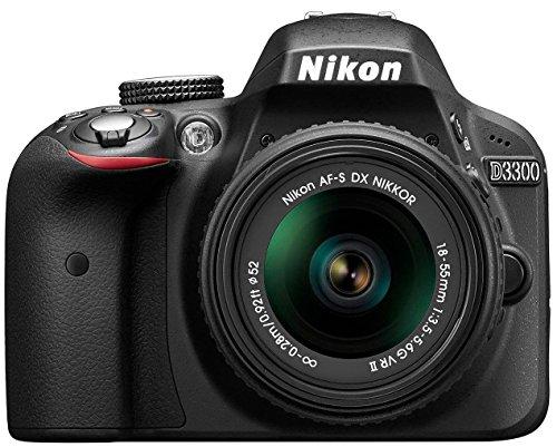 Nikon D3300 SLR-Digitalkamera Kit (24 Megapixel, 7,6 cm (3 Zoll) TFT-LCD-Display, Live View, Full-HD) inkl. AF-S DX 18-55 VR II Objektiv schwarz (Generalüberholt) (Bundle Nikon Camera)
